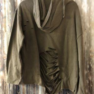 Olive distressed hoodie